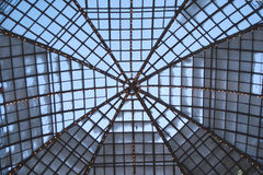 Cupola of retro glass house roof inside view Royalty Free Stock Photography