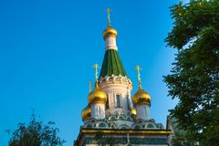 Cupola of Russian church in Sofia city, Bulgaria Royalty Free Stock Images