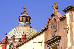Cupola with sculptures. Cupola of a church of the city of queretaro, mexico stock photo