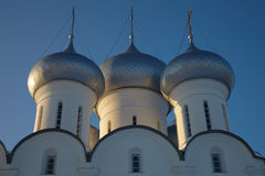Cupola of Sophia cathedral in Vologda Kremlin. Domes of Saint Sophia orthodox cathedral (built in 1570 by order of Ivan the Terrible), Vologda Kremlin, Russia Stock Photography