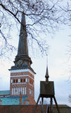 The cupola spike in Vasteras city in Sweden. The cupola spike of the church in Vasteras city in Sweden Stock Photo