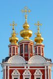 Cupola at sunset. Cold winter evening in Moscow stock photos