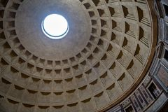 Cupola of Pantheon in Rome in Italy. Cupola of Temple Pantheon in Rome in Italy Royalty Free Stock Images