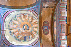 The cupola. THESSALONIKI, GREECE - OCTOBER 17, 2013: The cupola mosaic of Hagia Sophia church  represents the Ascension of Jesus Christ, ringed by the figures of Royalty Free Stock Photography