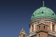 Cupola and turrets on Mirogoj. Cupola with corroded copper plates and two turrets on church at Mirogoj Stock Photo