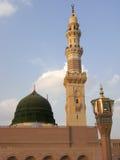 Cupola verde della moschea di Nabawi Fotografia Stock