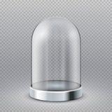 Cupola vuota della vetrina del cilindro del vetro trasparente isolata sull'illustrazione trasparente di vettore del fondo royalty illustrazione gratis