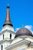 Cupolas. Of an orthodox church with gilded crosses Royalty Free Stock Image