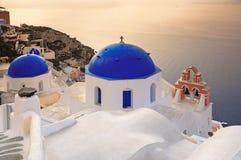 Cupolas with the Caldera in Santorini Stock Photo