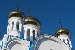 Cupolas of the cathedral of Astana city, Astana, Kazakhstan. Royalty Free Stock Photography