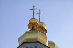 Cupolas of Caves Monastery in Kiev. Stock Image