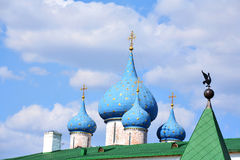 Cupolas and crosses. On the Russian church (Suzdal Royalty Free Stock Photos
