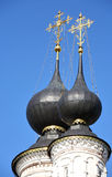 Cupolas and crosses. On the Russian church (Suzdal Stock Photo