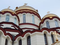 The cupolas of New Athos the Simon the Zealot monastery - monastery located at the foot of mount Athos in Abkhazia. January, 2015 Royalty Free Stock Photos