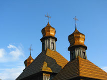 Cupolas of old wooden church. In Pirogovo museum Stock Image