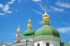 Cupolas of the Orthodox church against the sky Stock Images
