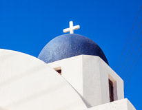 Cupolas from Santorini, Greece. Blue church of Oia village at Santorini island. Greece Royalty Free Stock Image