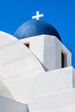 Cupolas from Santorini, Greece. Blue church of Oia village at Santorini island. Greece Royalty Free Stock Images