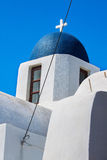 Cupolas from Santorini, Greece. Blue church of Oia village at Santorini island. Greece Stock Images