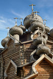 Cupolas of wooden Christ Orthodox church Stock Photography