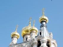 Cupole dell'oro di Gerusalemme della st Maria Magdalena 2008 della chiesa Immagini Stock Libere da Diritti