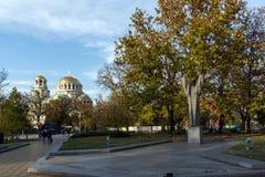 Cupole dorate del san Alexander Nevski della cattedrale a Sofia, Bulgaria Fotografie Stock