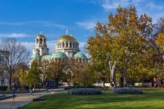 Cupole dorate del san Alexander Nevski della cattedrale a Sofia, Bulgaria Fotografia Stock Libera da Diritti