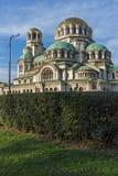 Cupole dorate del san Alexander Nevski della cattedrale a Sofia, Bulgaria Fotografia Stock