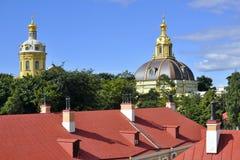 Cupole nella fortezza del Paul e del Peter, St Petersburg Fotografia Stock