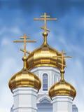Cupole russe della chiesa ortodossa Fotografia Stock