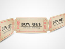 Cupones de la venta de la vendimia del vector Fotografía de archivo