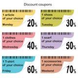 Cupones diarias para las compras Ilustración del Vector
