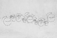 Cupones y vales al lado de los relojes y de las alarmas, promoción de destello Imagen de archivo