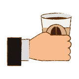 Cuppa кофе цвета в значке руки Стоковое фото RF