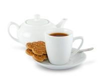 Cuppa und Kekse Stockbild