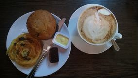 Cuppachino, Muffin & Danish with Preserve Stock Photography
