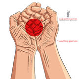Cupped empty hands with place for some small object, detailed ve Royalty Free Stock Images