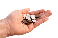 Cupped Hand Holding American Coins stock photo