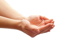 Cupped hands. Man's cupped hands isolated on white background Stock Photography