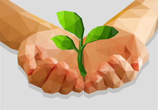 Cupped hands keep green plant  ecology polygonal low pol Stock Image