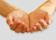 Cupped hands keep red heart  low-poly polygon on a gray Stock Photos