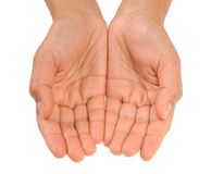 Cupped hands of young woman - isolated Royalty Free Stock Photography