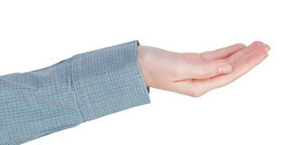 Cupped palm hand gesture Stock Image