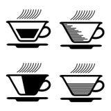 Cuppiktogramme des schwarzen Tees Stockbilder