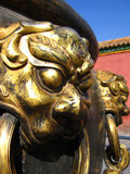 Cupreous lion. Cupreous-lion-shaped ornament outside a chinese ancient vessel in forbidden city in bejing, china royalty free stock photography