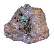 Cuprite και Malachite Limonite στην πέτρα που απομονώνεται στοκ φωτογραφία με δικαίωμα ελεύθερης χρήσης