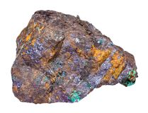 Cuprite and Malachite in Limonite rock isolated royalty free stock images
