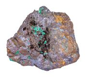 Cuprite and Malachite in Limonite stone isolated royalty free stock photo