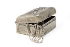 Cupronickel case with silver chains isolated Stock Image
