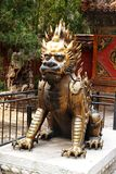 Cuprum lion. In the Imperial Palace of Beijing Royalty Free Stock Photography